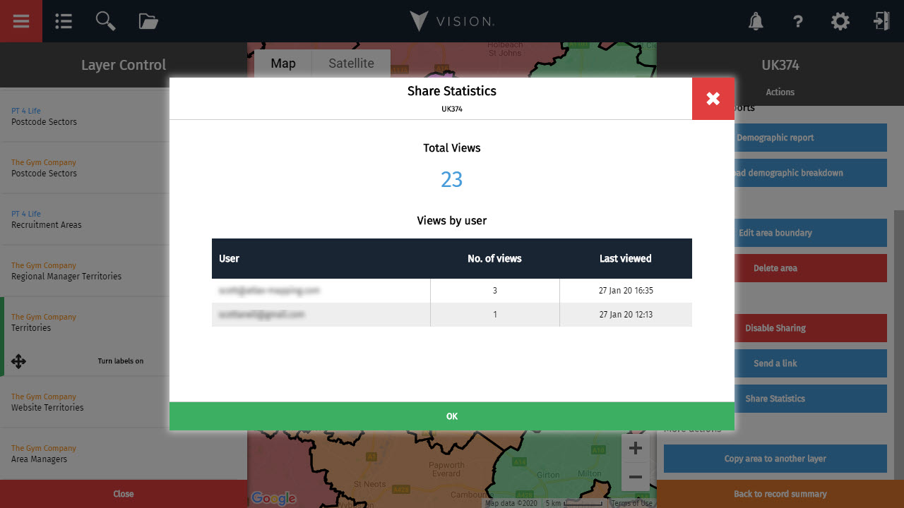 Share statistics shows you how many times your area has been viewed and who by.